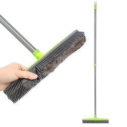 Push Broom Extra Long Handle Rubber Bristles Sweeper Squeegee Edge 55.1 inches Scratch Free Bris ...