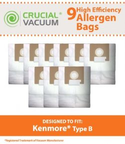 9 Replacements for Kenmore Type B Cloth Bags Fit Kenmore & Oreck Canister Vacuums, Compatibl ...