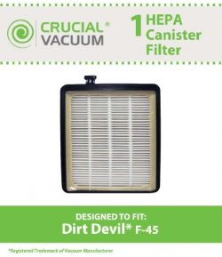 Dirt Devil F45 HEPA Canister Filter, Fit Dirt Devil Vacuum Cleaner F45, Pets Canister Vacuum SD4 ...