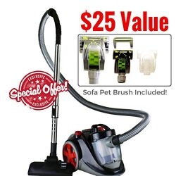 Ovente Bagless Canister Cyclonic Vacuum with HEPA Filter, Comes with Pet/Sofa Brush, Telescopic  ...