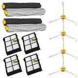 SHP-ZONE Tangle-Free Debris Extractor Set & Side Brushes & Hepa Filters replacement Kit  ...