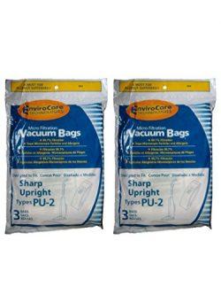 6 Sharp Pu-2 / Pu2 Allergy Vacuum Bags, Upright Vacuum Cleaners, EC12SWC, ECT5970, ECT5980, ECTU ...