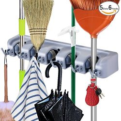 Durable Broom and Mop Holder Rack, Wall Mounted Mop Hanging Organizer by DealBang with 5 Slots & ...