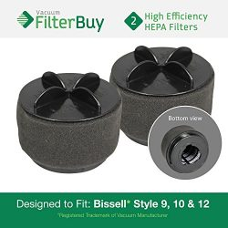 2 – Bissell Style 9/10/12 Washable Pleated Filters with Outer Foam Filters, Part #'s ...