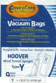 Hoover WindTunnel Upright Type Y Vacuum Bags Microfiltration with Closure – 9 Pack