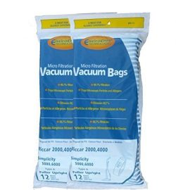 Riccar 2000, 4000 and Vibrance Series. Simplicity 5000, 6000 and Symmetry Type A Vacuum Bags  ...