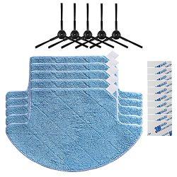 Replacement Accessories Parts 5pcs Side Brush + 5pcs Mop Cloth + 10pcs Magic Paste for ILIFE V7S ...