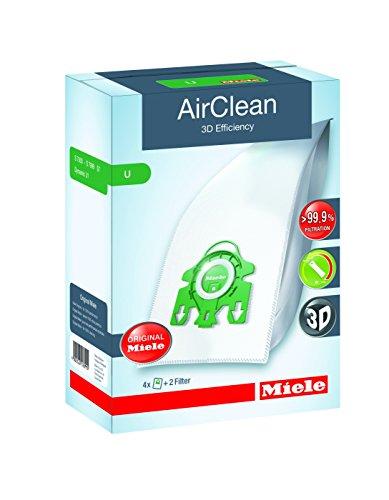 Miele 10123230 AirClean 3D Efficiency Dust Bag, Type U, 4 Count, 2 Air Filters
