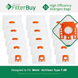15 FilterBuy Miele FJM Compatible Vacuum Bags, Miele Part # 7291640. Designed by FilterBuy to fi ...