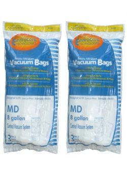 6 MD Modern Day 8 gallon 720H-5, 720-5 Allergen Style Central Vacuum System Bag Flomaster, Silen ...