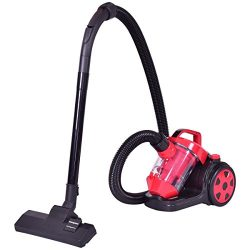 COSTWAY Bagless Canister Vacuum Rewind Corded Carpet Hard Floor Vacuum Cleaner with HEPA Filtration