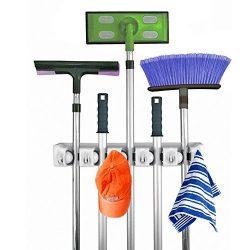 Broom MOP Holder,Multi-purpose Garage Storage Hooks Wall Mounted Organizer Hanger Rack Tool with ...