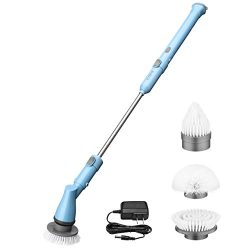Electric Spin Scrubber, ELLESYE Power Cordless Scrubber Rechargeable Tile and Bathtub Scrubber w ...