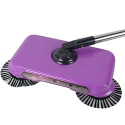 Pevor Natural Sweep Dual Brush Sweeper without Electricity, Manual Push Sweeper with 360 Degree  ...