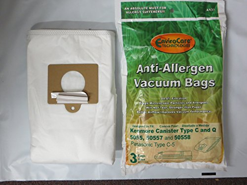 EnviroCare Replacement Anti-Allergen Vacuum Bags for Kenmore Canister Type C or Q 50555, 50558,  ...