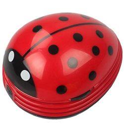 Mini Portable Handheld Cordless Tabletop Crumb Sweeper Desktop Dust Vacuum Cleaner Cute Beetle L ...