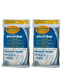 6 Panasonic U, U-3 & U-6 Upright Vacuum Cleaner Bags, MC-V145M, MC-115P, MC-V5000 thru MC-V5 ...