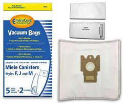 EnviroCare Replacement Anti-Allergen Vacuum Bags for Miele F,J,M Canisters 5 Pack with 2 Filters