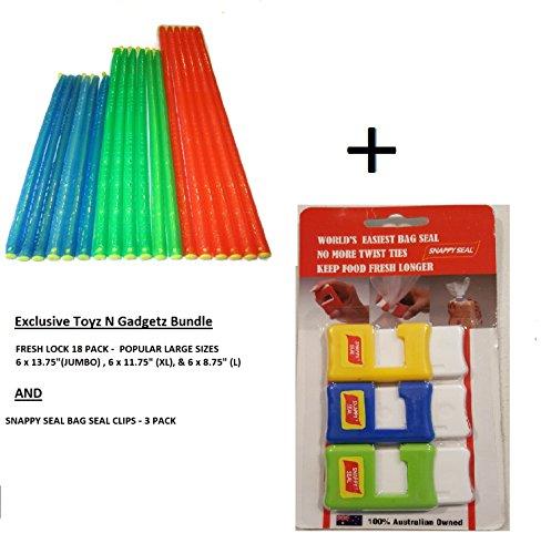 Fresh Lock Original Premium Plastic Bag Sealer Sticks (18 pack Popular Large Sizes) and Snappy S ...