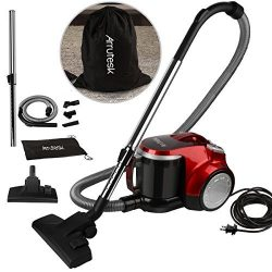 Arrutesk Upright Cyclonic Vacuum Cleaner with Bag, Multi-Cyclonic Bagless Canister Vacuum, 700W  ...