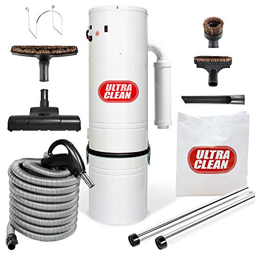 Ultra Clean Central Vacuum Unit 7,500 sq. ft. Air Turbo Power Nozzle 30 foot ON/OFF Control Swit ...